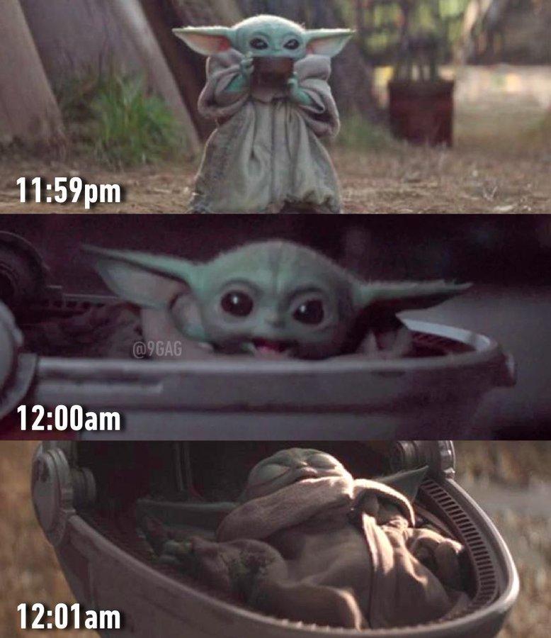 20 9gag On Twitter Me Tonight Newyearseve Babyyoda Https T Co J7dg0lm19u Twitter Yoda Meme Happy New Year Baby Yoda Funny