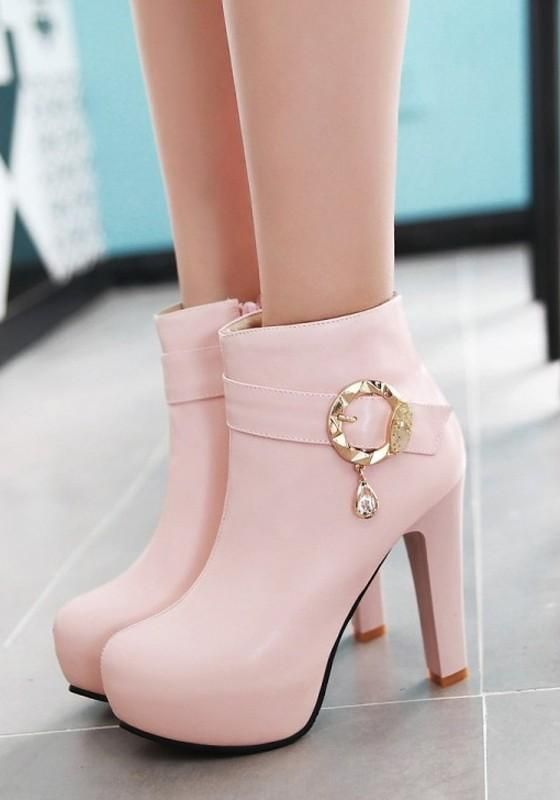 New Women Pink Round Toe Chunky Buckle Zipper Fashion Ankle Boots 17