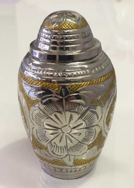 Memorial Jewellery- Small Gold and Silver Keepsake Cremation Urn for Ashes