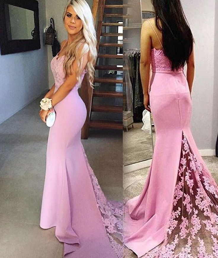 Pink Spaghetti Straps Sweep Train Mermaid Prom Dresses 2017 ...
