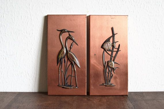 Vintage 1960s Copper Wall Art Copper Wall Hanging Nautical Nature Wall Decor Copper Wall Copper Wall Art