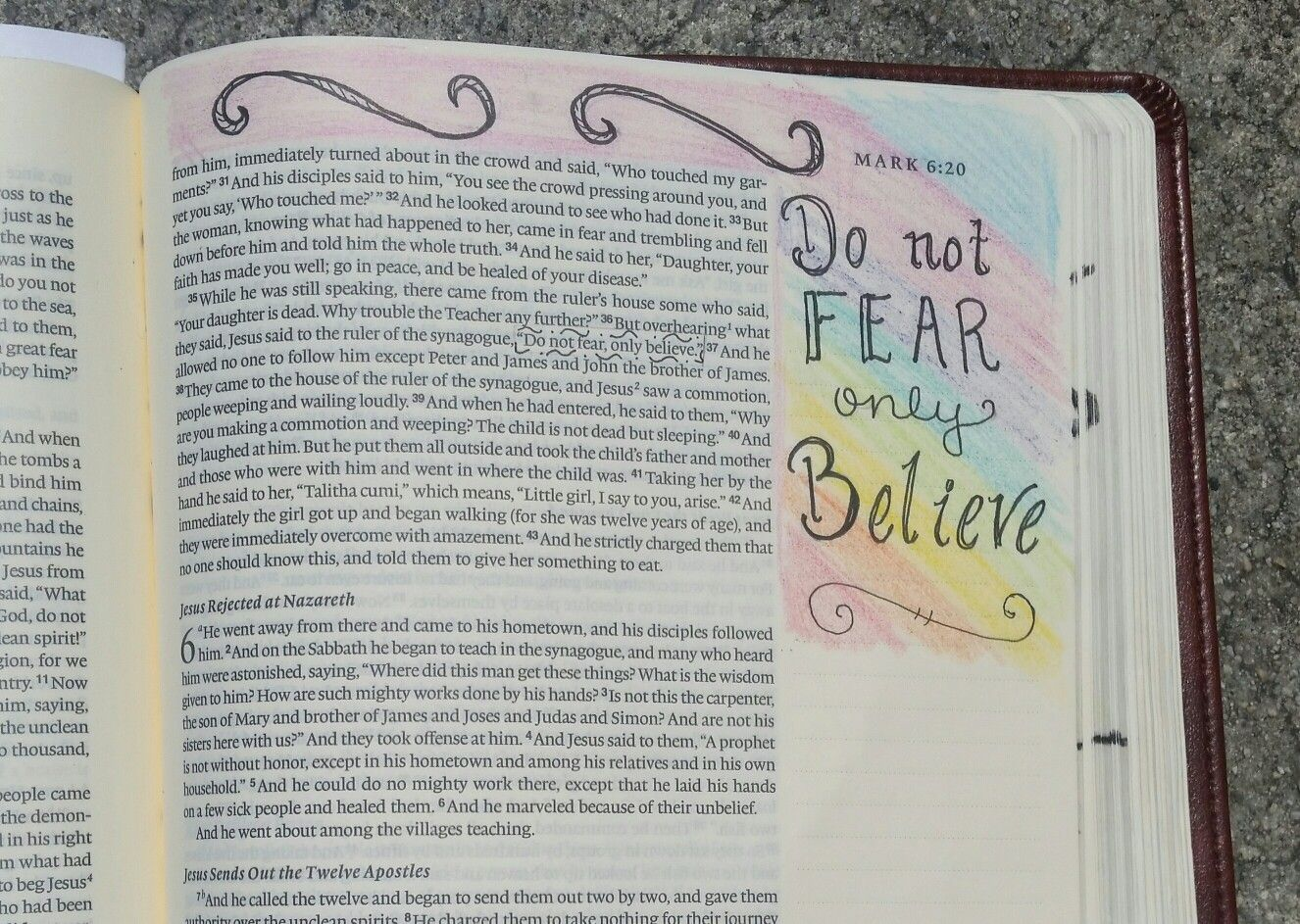 Bible journaling,  Mark 5:36b, hand lettering,  crayons
