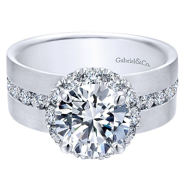 Contemporary Bands: 18k White Gold Contemporary Style Halo Engagement Ring