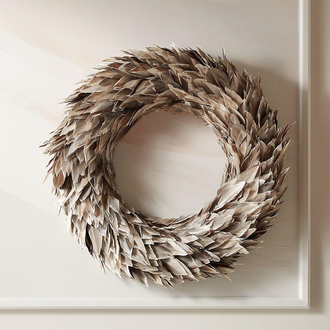 "Feather Grey Wreath 22"" CB2 Feather gray, Wreaths"