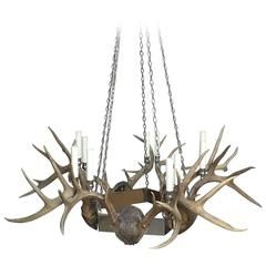 Antler and Chrome Chandelier Offered by Frederick P Victoria and Son, Inc. Late 20th Century American Chandeliers and Pendants