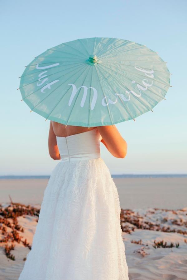 DIY Personalized Wedding Parasols by Something Turquoise