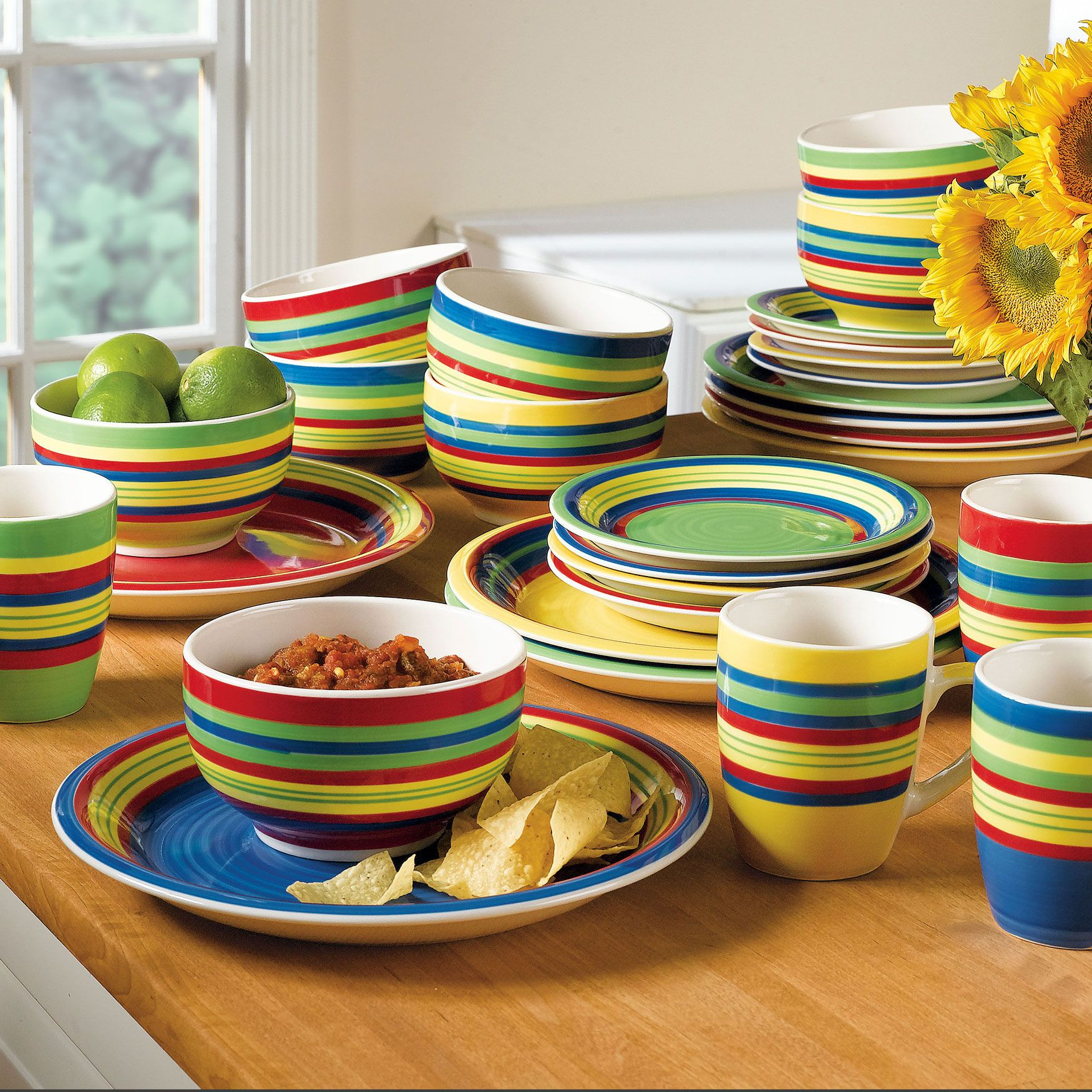 Santa Fe Hand-Painted Striped Stoneware Dinnerware & Santa Fe Hand-Painted Striped Stoneware Dinnerware | Kitchen Wares I ...