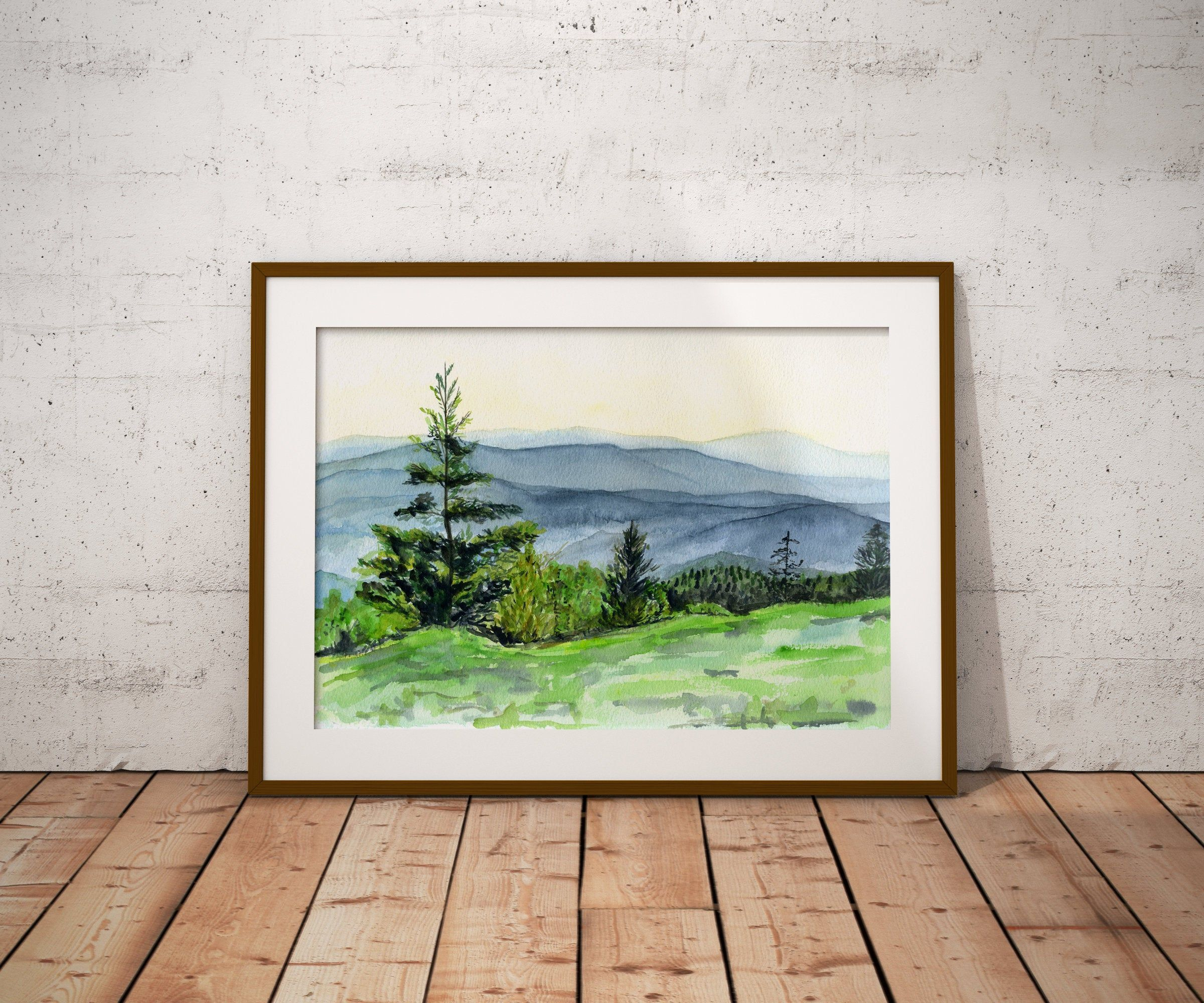 Mountains Painting Smoky Mountains Watercolor Smoky Mountain