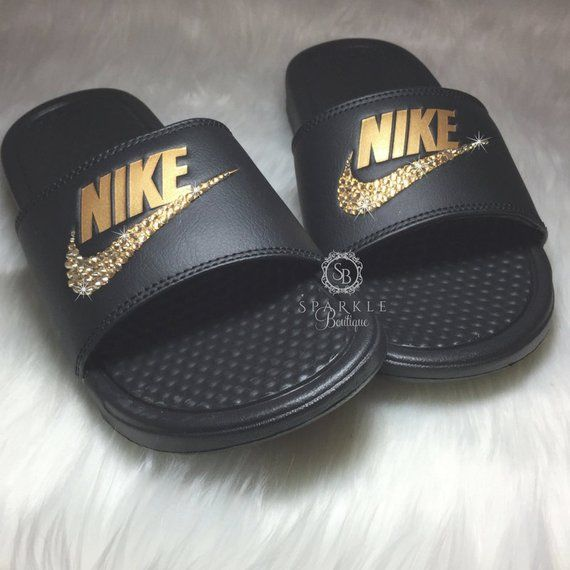 87c3bbc18807a Bling Women s Benassi JDI Nike Slides Bedazzled with GOLD Crystals All Sizes  Sparkly Nike Slides Sli