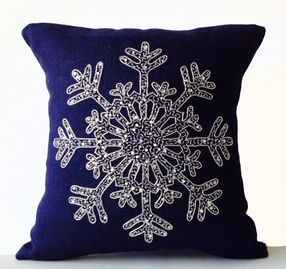 Christmas in July Silver Sequin Pillow