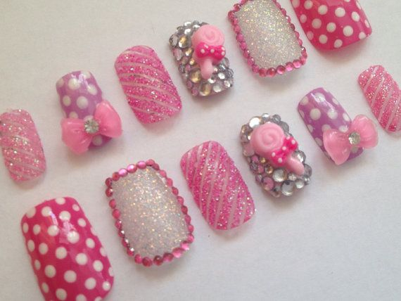 Candy False Nails 3D Nail Art Pink Glitter Stripe Kawaii on Etsy, $12.84