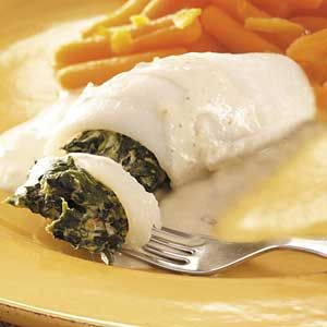 ~ Flounder Florentine ~  I used non-herbed non-dairy cream cheese but changed nothing else. Delicious and a cinch to put together.