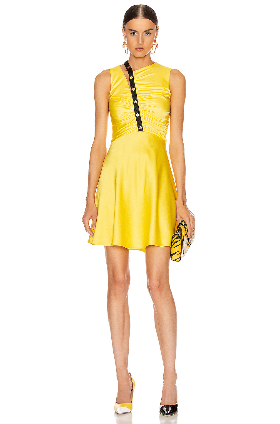 VERSACE Sleeveless Mini Dress in Yellow & Black Mini
