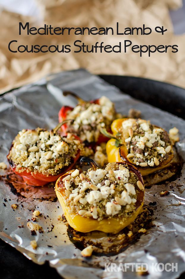 Mediterranean Lamb Couscous Stuffed Peppers Stuffed Peppers Couscous Stuffed Peppers Ground Lamb Recipes