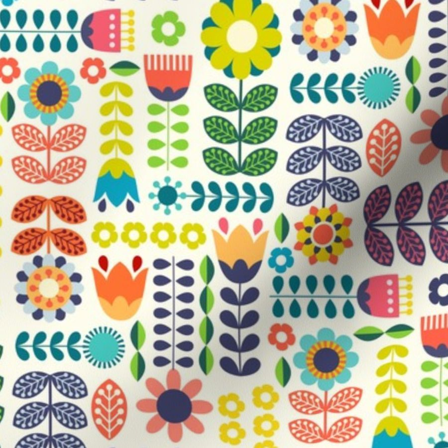 Photo of Colorful fabrics digitally printed by Spoonflower – Swedish Folk Art Colorway1
