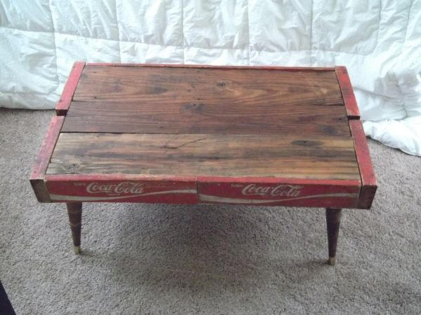St Louis Coca Cola Coffee Table Handmade W Reclaimed Wood And Bottle