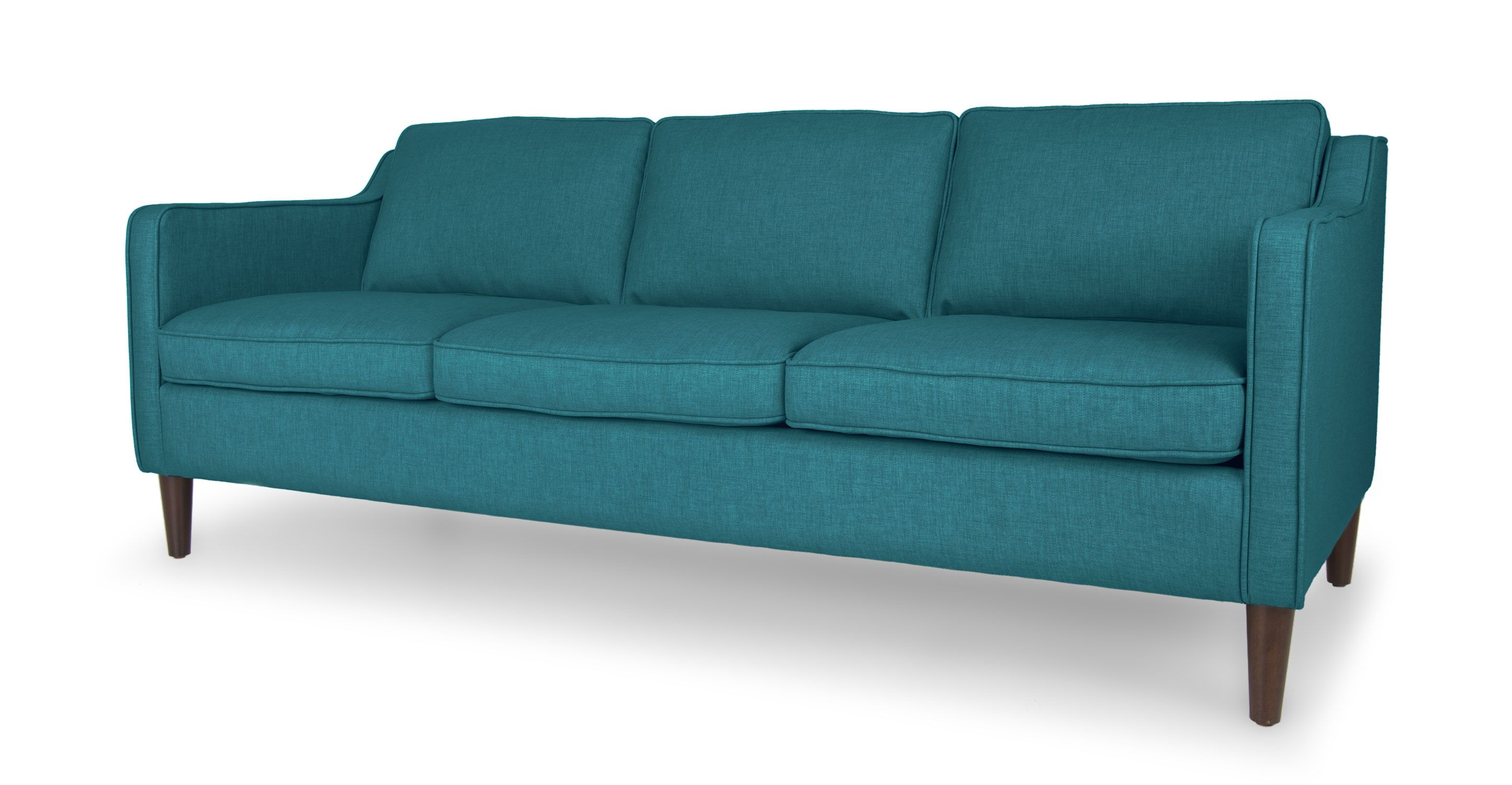 Teal Sofa 3 Seat Brown Wood Legs