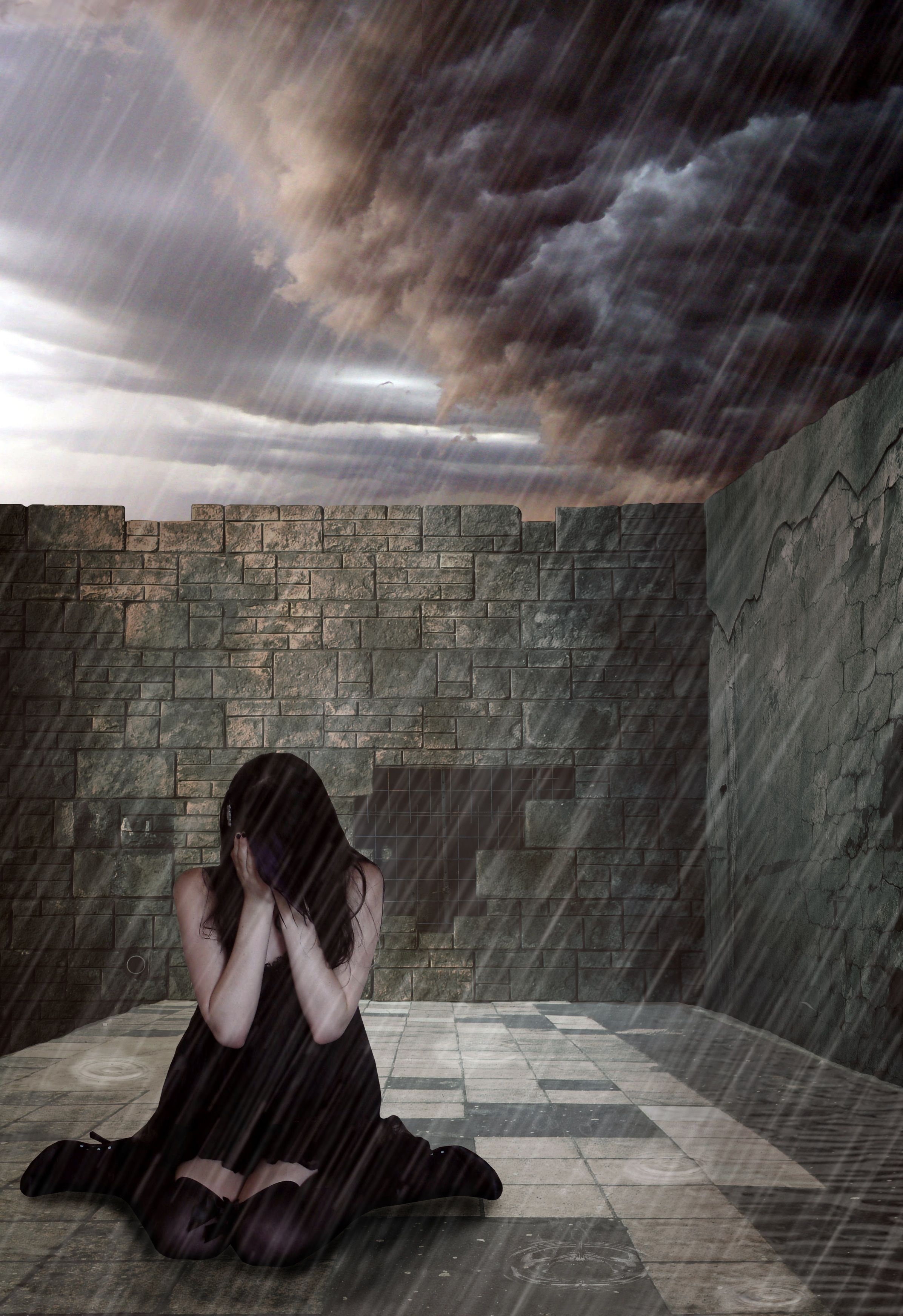 Girl crying in the rain sad art Pinterest Crying and