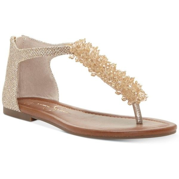 Jessica Simpson Kenton Pearl-Embellished Flat Sandals ( 79) ❤ liked on  Polyvore featuring shoes