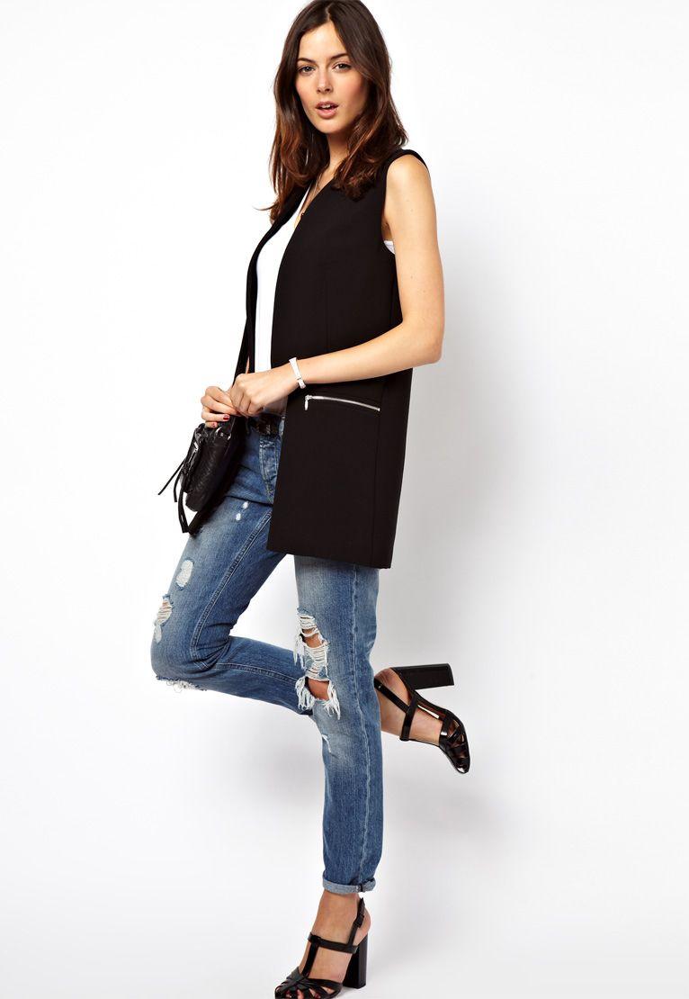 696c77234db1 Black Lapel Sleeveless Zipper Embellished Blazer - Sheinside.com ...