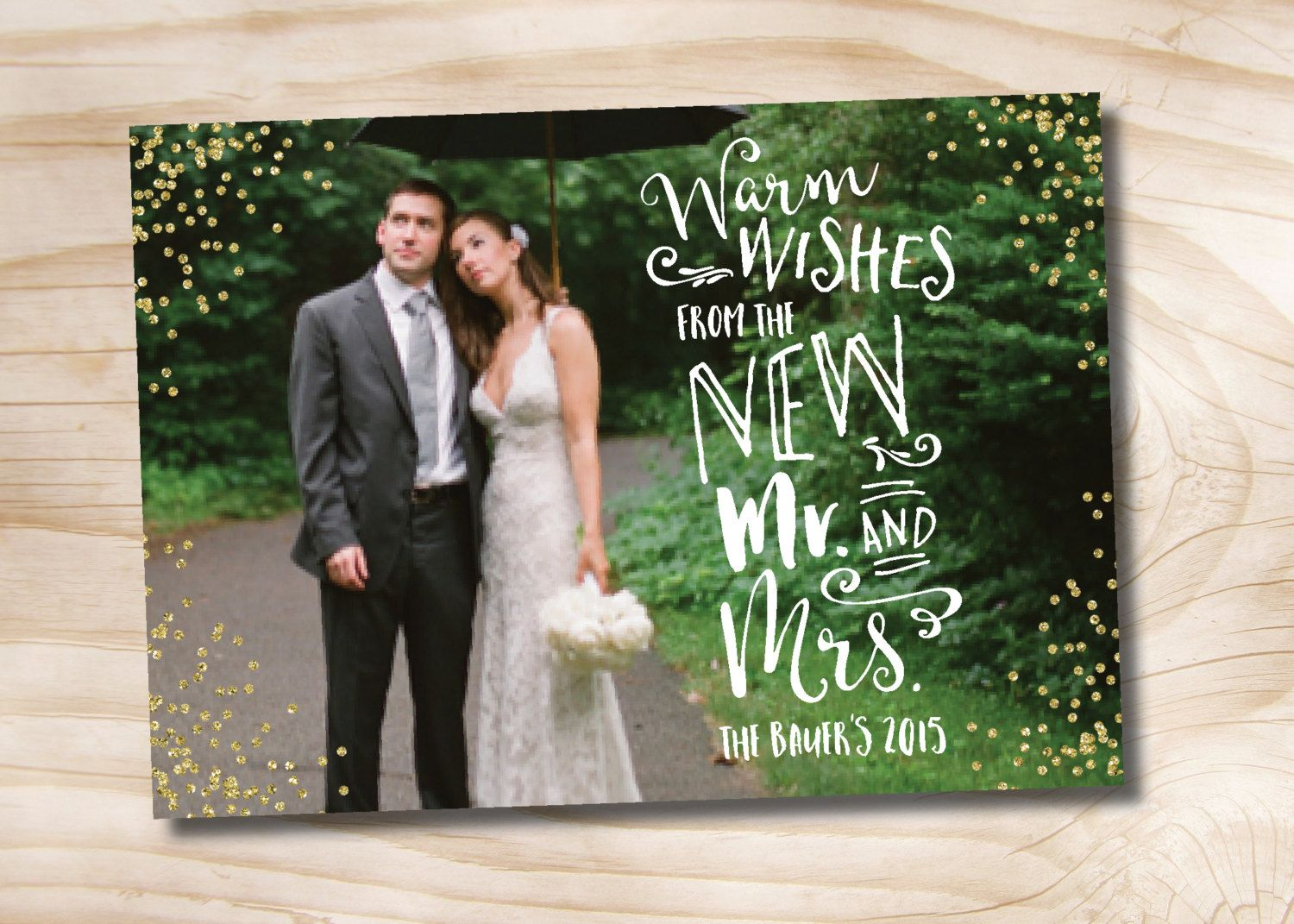 Glitter Confetti Photo Christmas Card newlywed just married chistmas ...