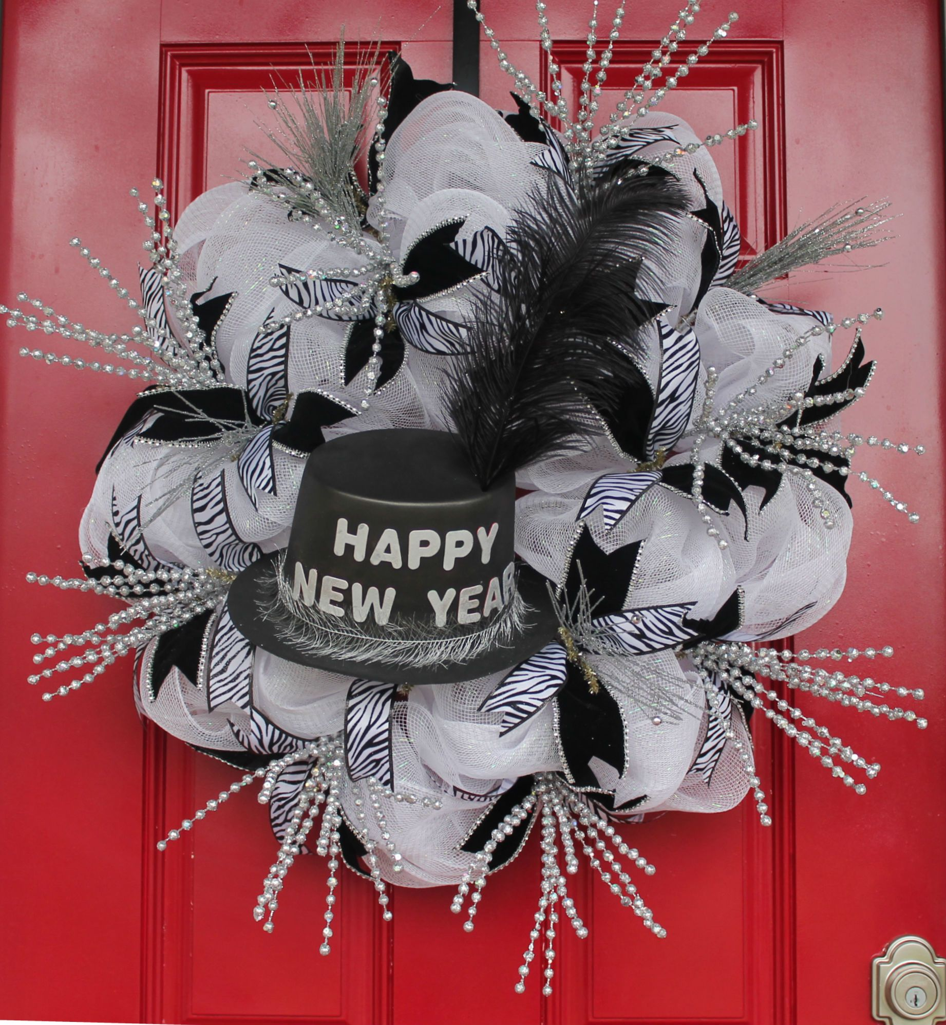 DIY New Year Celebration Mesh Wreath Mesh wreaths