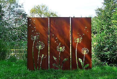 Gartenwand Sichtschutz Wand Triptychon Pusteblume Stahl