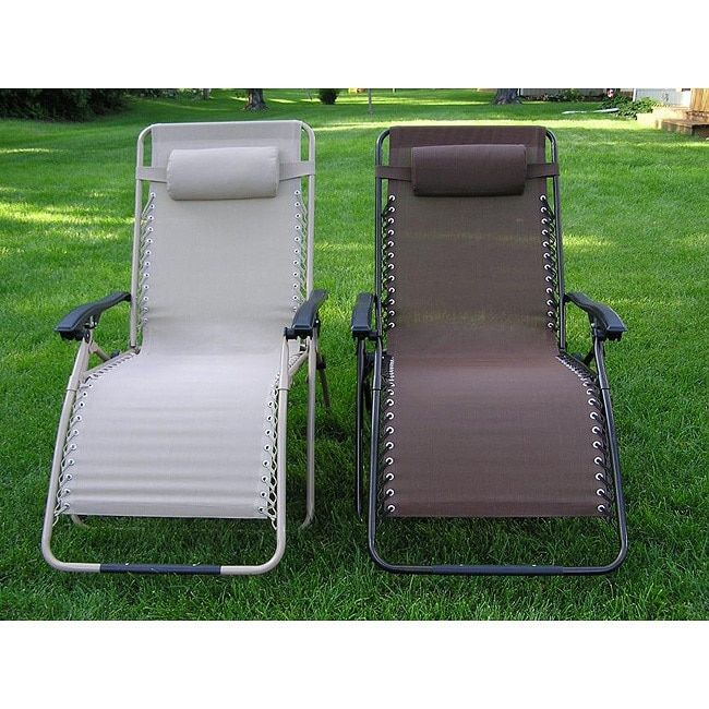 Zero Gravity Extra Wide Recliner Lounge Chair Beige Fabric