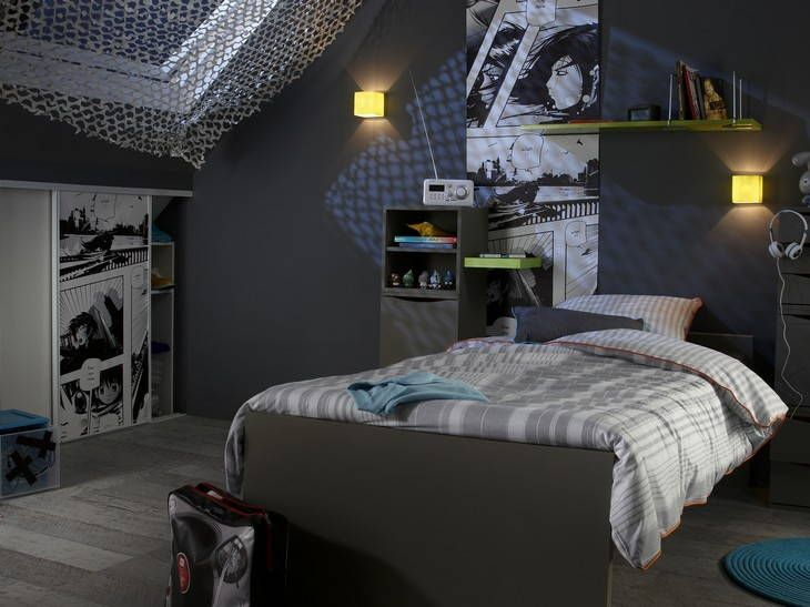 blanc noir gris bleu chambre ado jeune adulte pinterest teen boy rooms teen boys and dorm. Black Bedroom Furniture Sets. Home Design Ideas