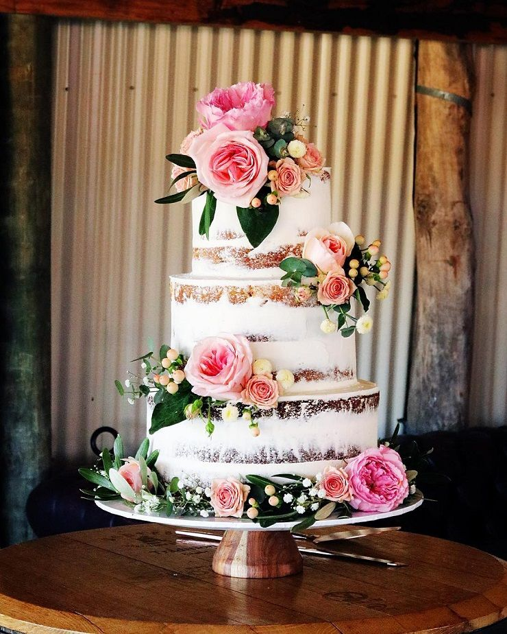 This Rustic Three Tier Naked Wedding Cake With Flowers