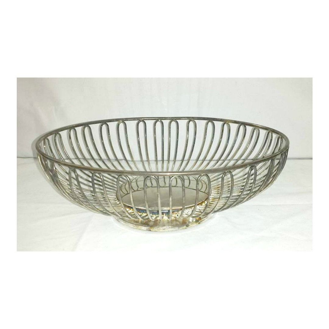 Mid Century Silver Wire Basket,Godinger Silver Art Co,Fruit Basket ...