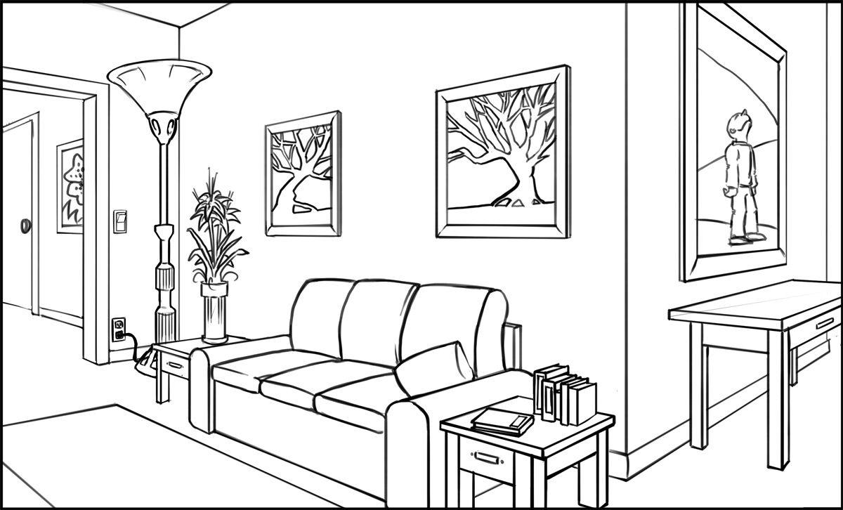 Fun interior space Interior Line Drawings Pinterest Drawings