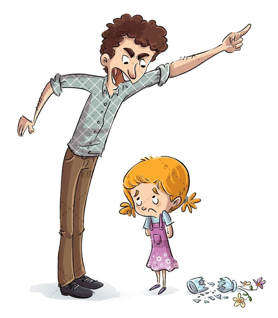 Angry father with his daughter in 2020 character sketch