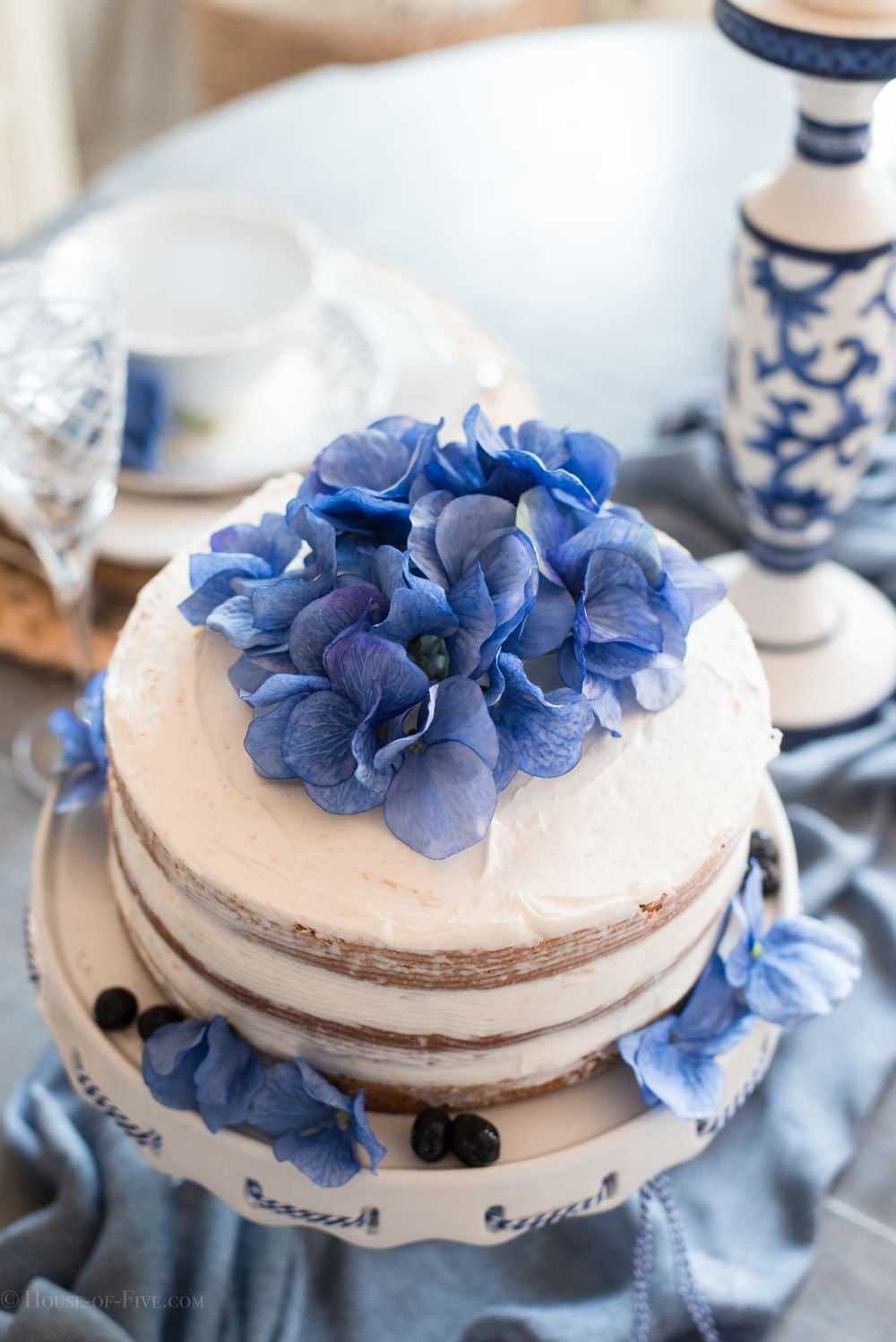 Mothers Day Table Ideas Blueberry Cake and Tiered cakes