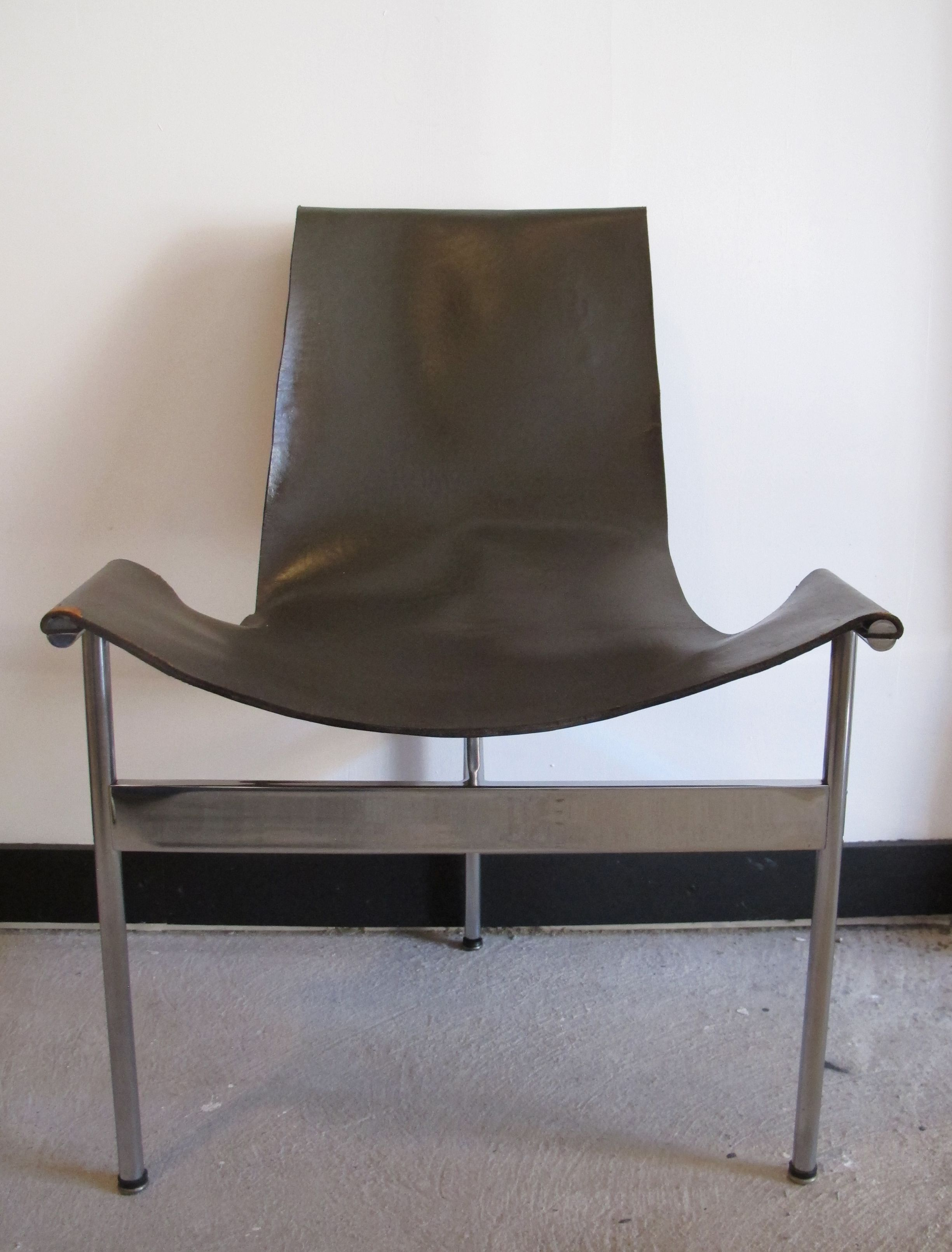 WILLIAM KATAVOLOS MID CENTURY MODERN LEATHER SLING T CHAIR BY ...