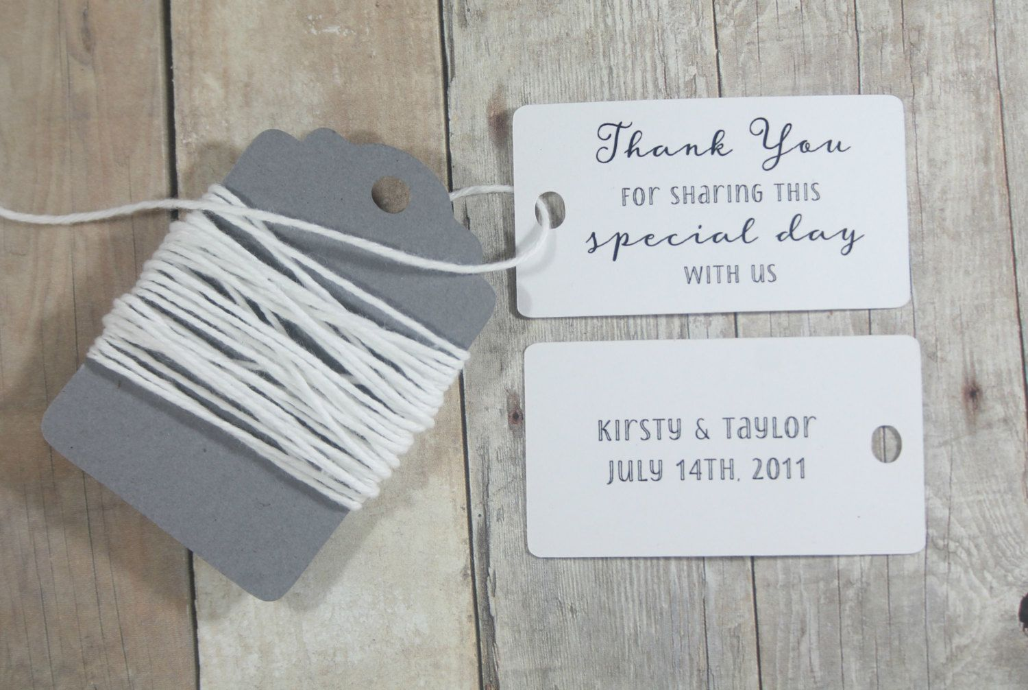 White Wedding Tags set of 20 - Personalized White Wedding Favor Tags ...