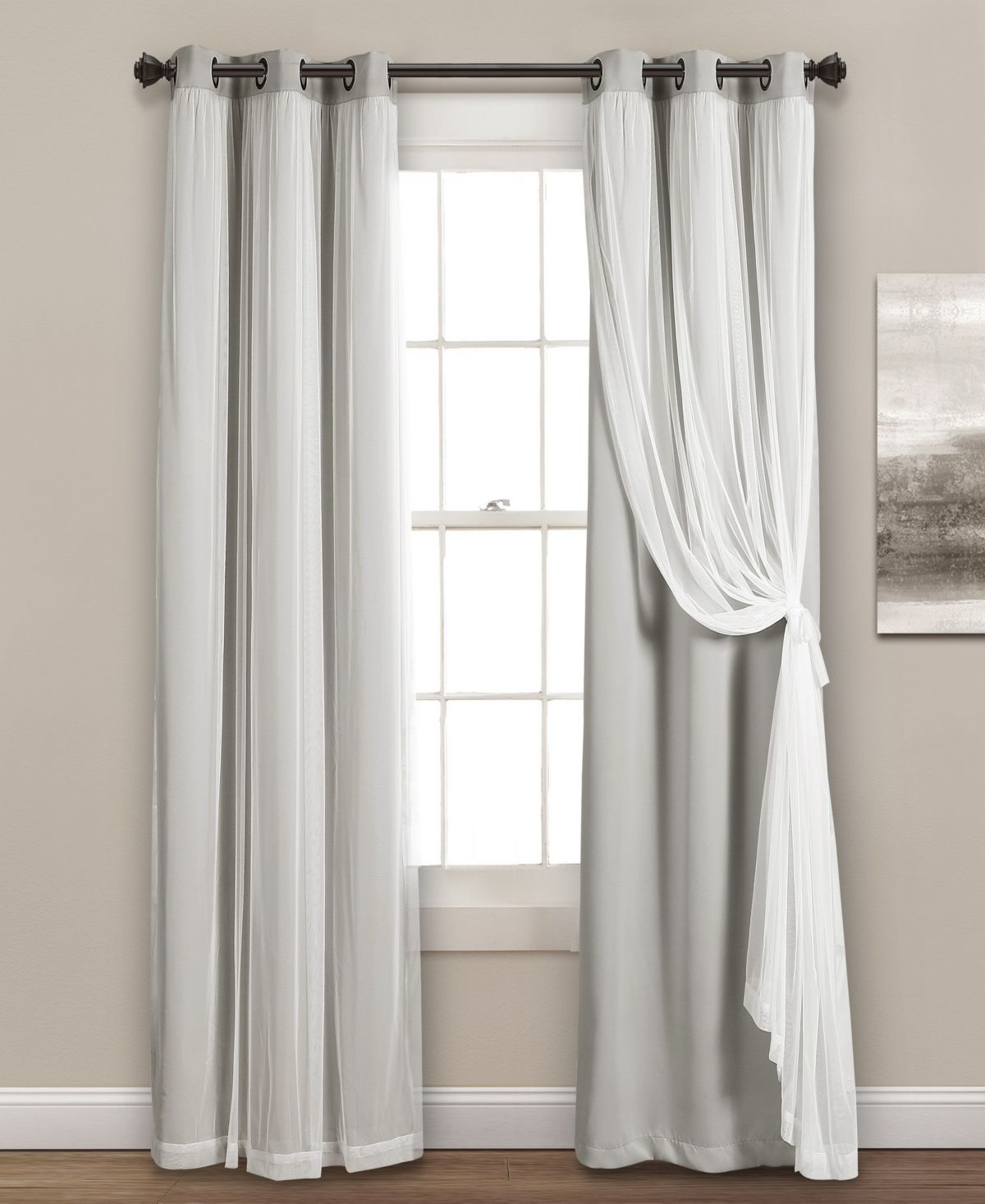 Lush Decor Solid And Sheer Layered 38 X 120 Blackout Curtain Set