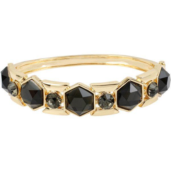 Worthington Black Faceted Stone Hinged Skinny Bangle Bracelet ($18) ❤ liked on Polyvore featuring jewelry, bracelets, hinged bangle, hinged bracelet, bangle bracelet, worthington jewelry and bangle jewelry