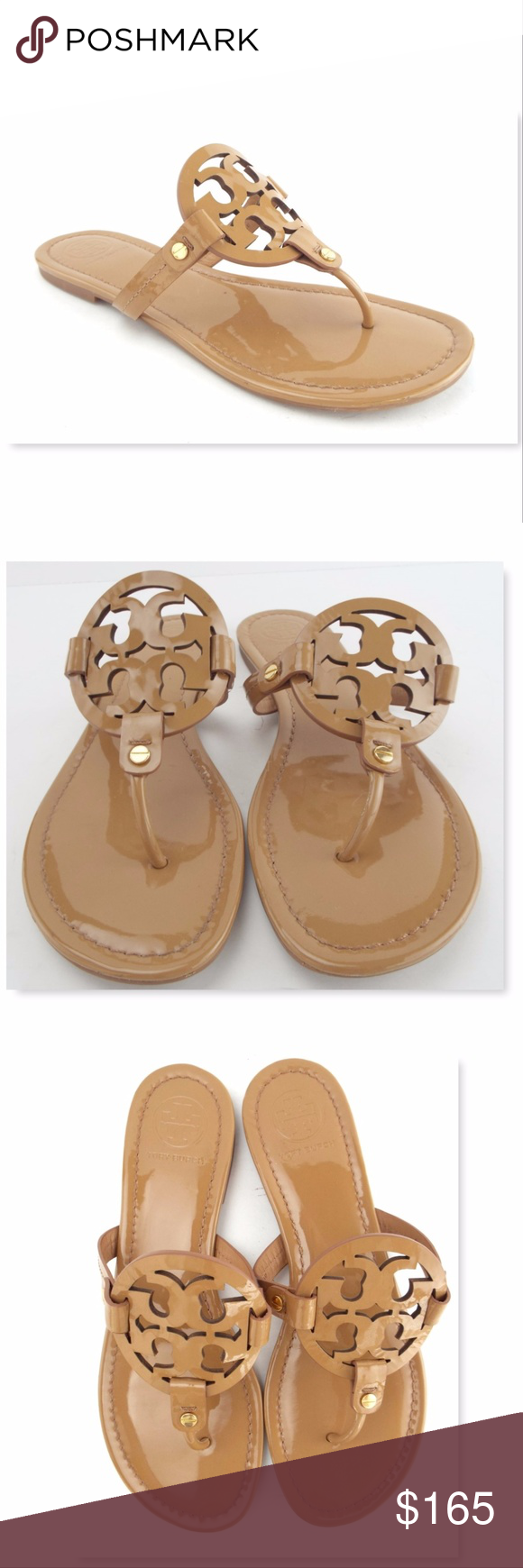 19d7868967146 TORY BURCH Size 9.5 MILLER Tan Patent Thong Sandal TORY BURCH 100% Authentic !