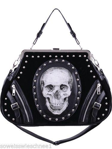 Restyle-Punk-Skull-Handtasche-Samt-Rockabilly-Tasche-Biker-Gothic-Bag-Emo