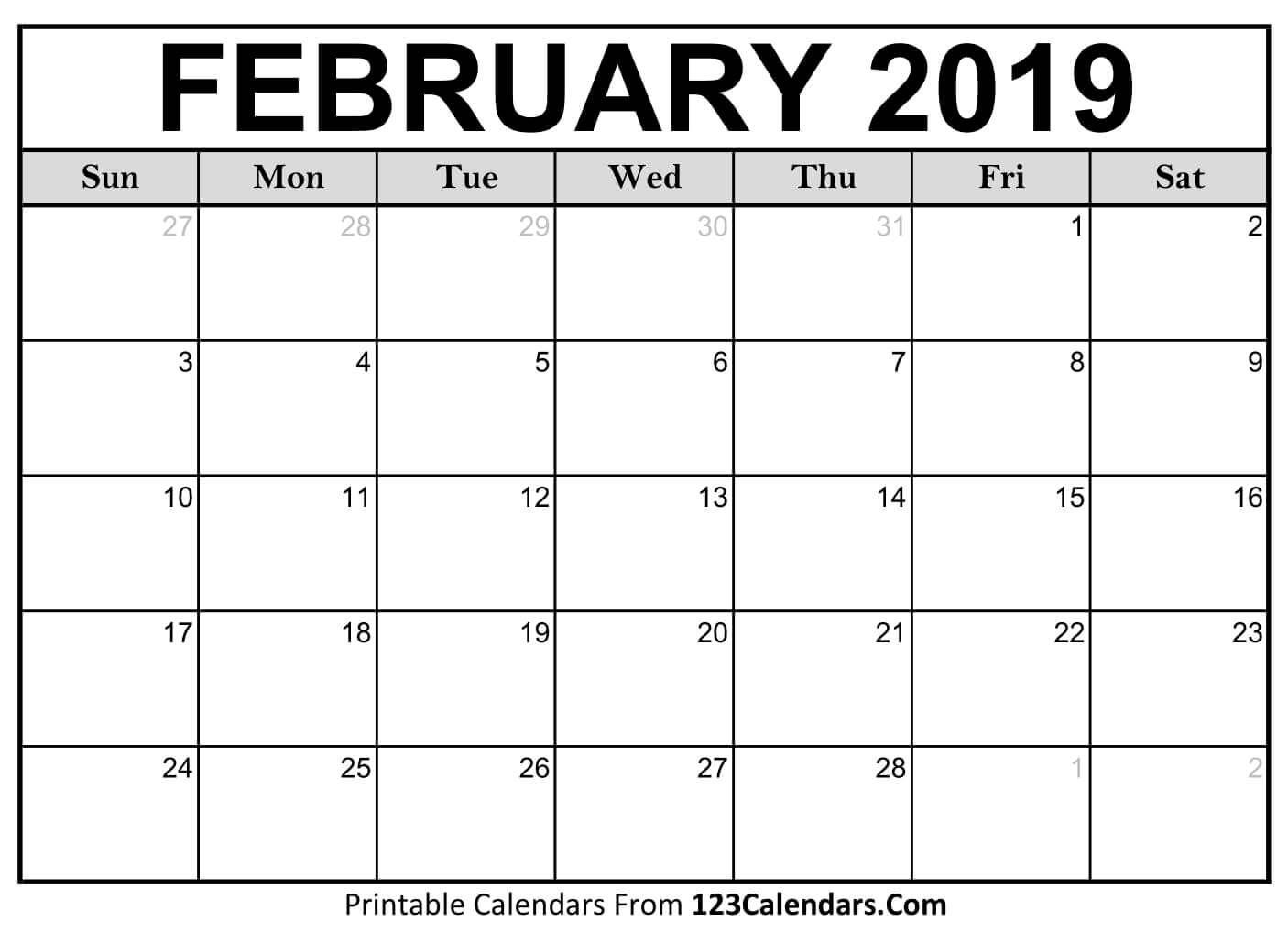 2019 Calendar Of February Pinterest