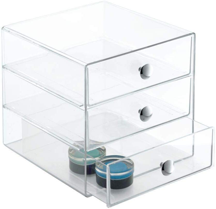 Stapelbarer Schubladenturm Tischorganizer B/üro Mini Kommode Organizer Box Quadratische Make-Up Organizer Schubladenbox Orange