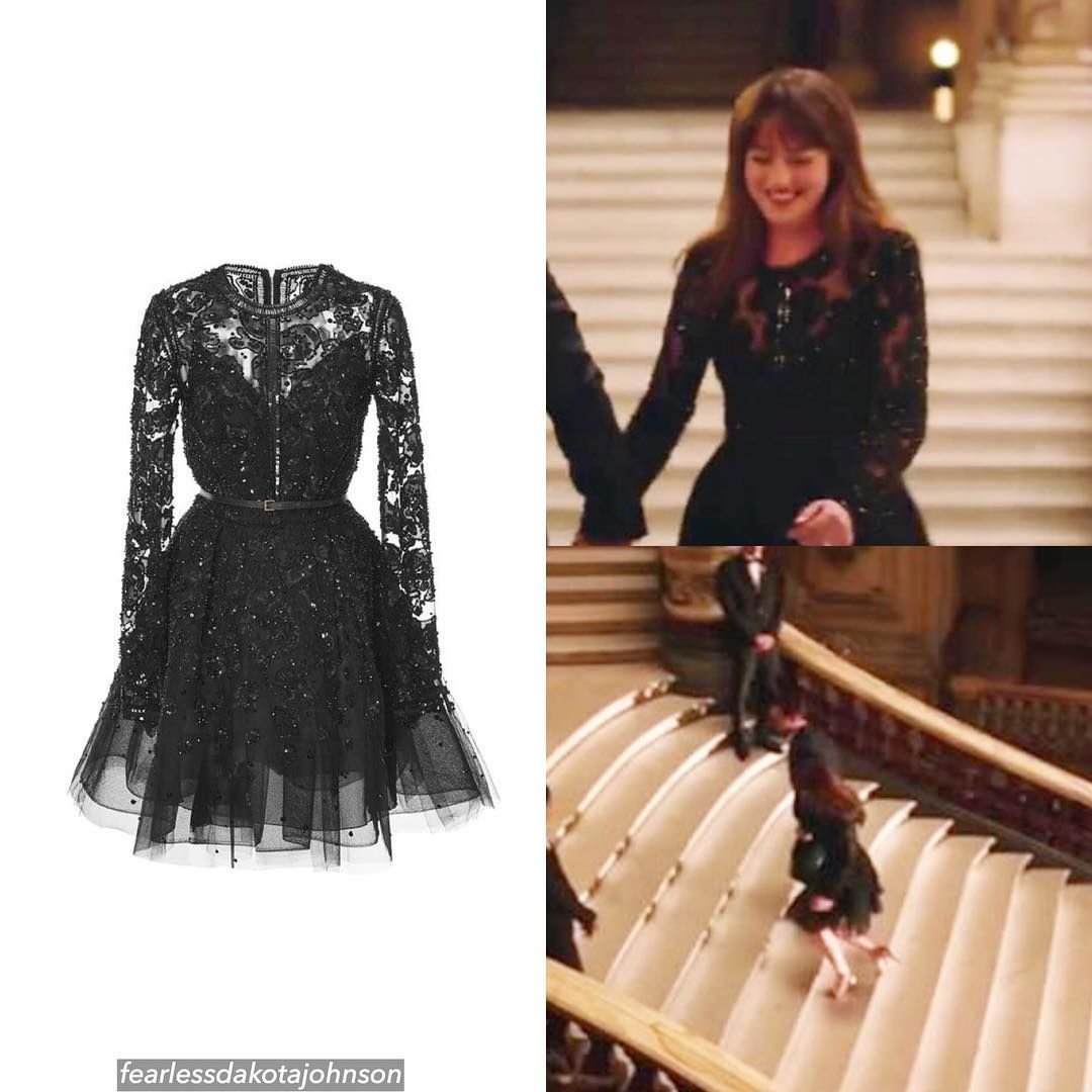 Dakota is wearing a elie saab sequin embroidered tulle short dress
