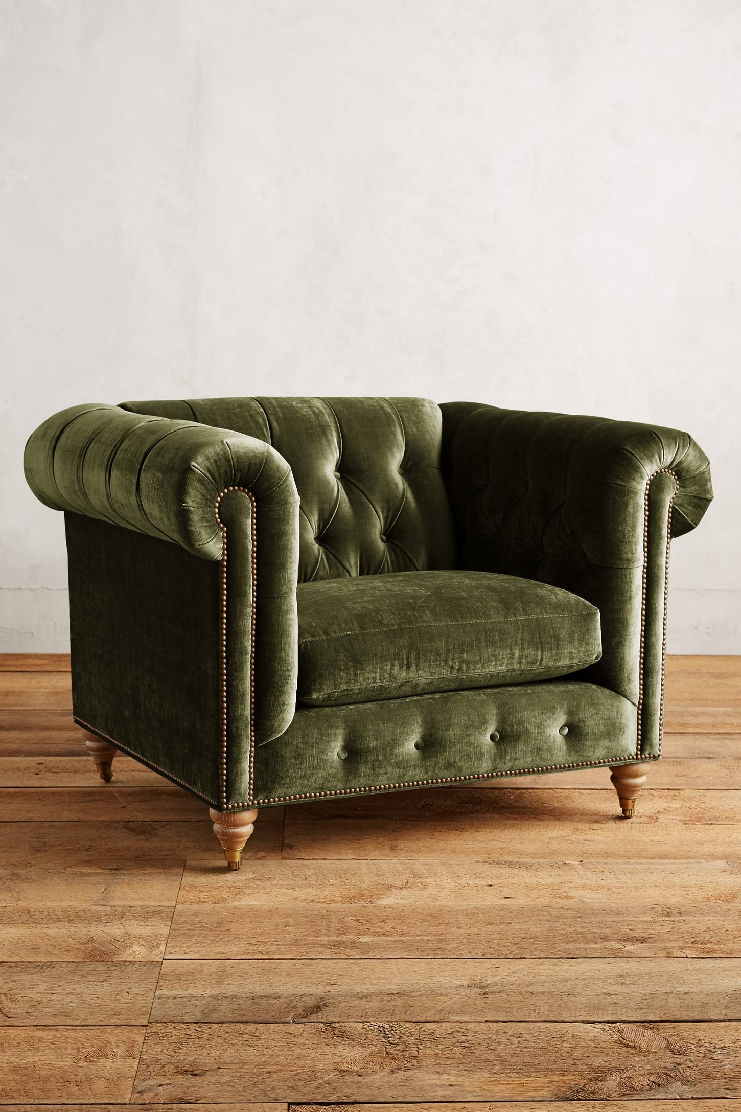 Slub Velvet Lyre Chesterfield Armchair  Anthropologiecom