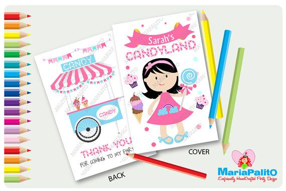 6 Candyland Coloring Books, Little Girl Candy Shoppe Birthday ...