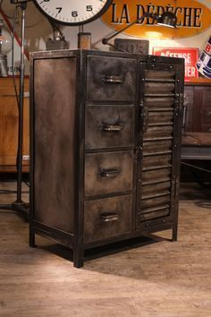 re purposed industrial storage cabinet project idea industrial home decor project idea. Black Bedroom Furniture Sets. Home Design Ideas
