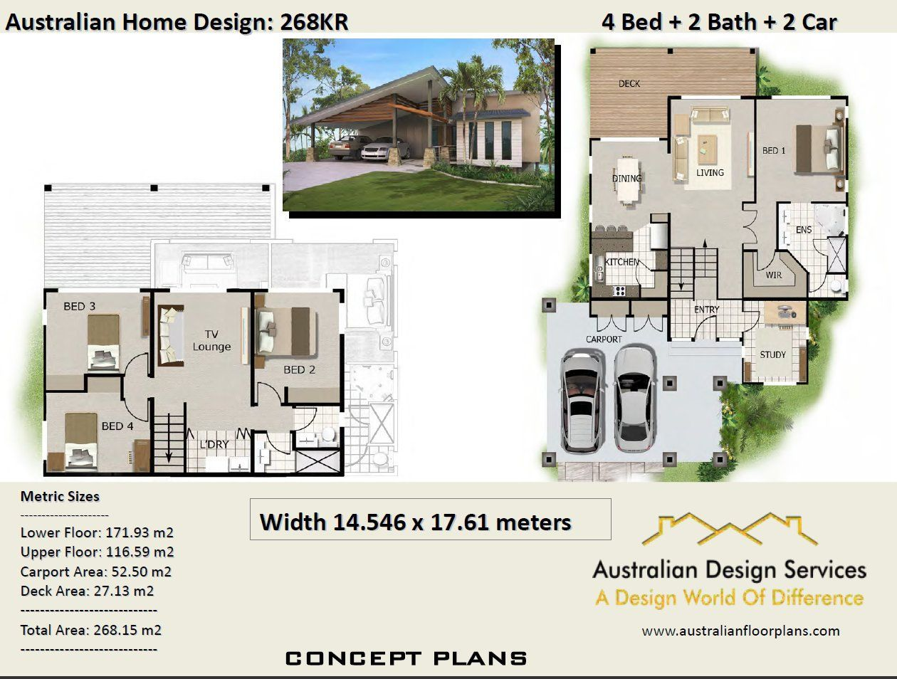 268m2 4 Bedrooms 4 Bedrooms Split Level Floor Plan 4 Bedroom Carport Plans Modern 4 Bed Porch House Plans Floor Plan 4 Bedroom House Plans Australia