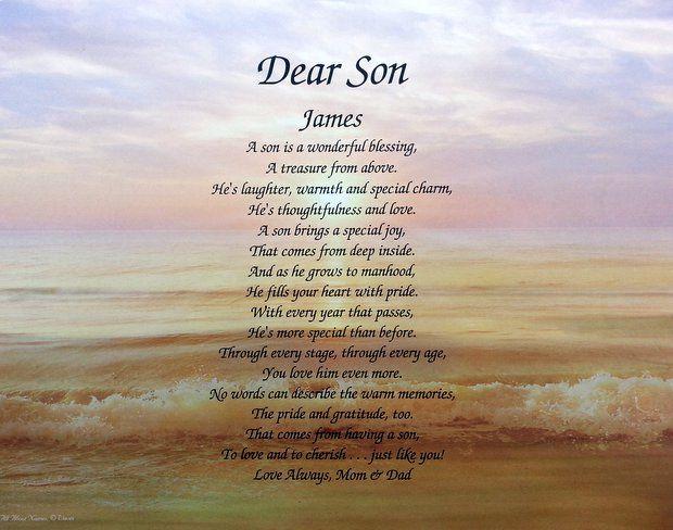 Dear Son Personalized Poem Birthday, Christmas, Wedding