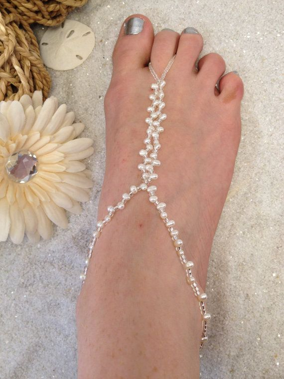 Pearl barefoot sandals pearl wedding foot jewelry by SilverSpoonLifestyle, $37.75