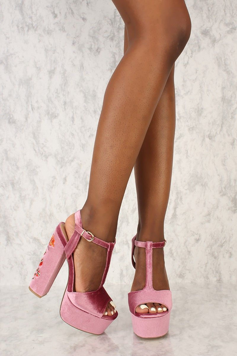 e147216111f Sexy Blush T-Strap Open Toe Platform Chunky High Heels Faux Velvet ...